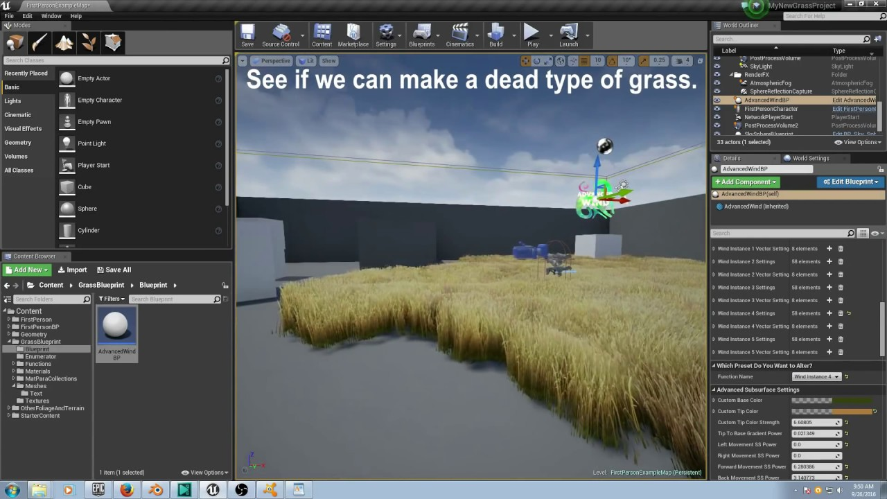 Free advanced cinematic grass blueprint with 3d imposter sprite heres a video cinematically showcasing the blueprint part 1 of a tutorial series below that too below all of that is a link with a game ready version of malvernweather Choice Image