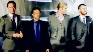 the avengers cast hands up touch the sky