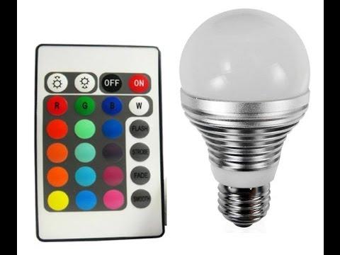 Lâmpada LED E27 Colorida com Controle Remoto - YouTube