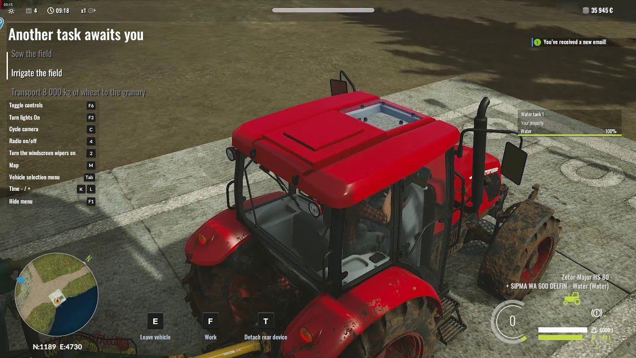 Irrigate the field after you did Sow the field in Pure Farming 2018   How to do it