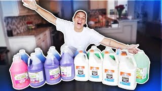 1 GALLON OF ELMER'S FLUFFY GLUE ALL VS 1 GALLON OF NICKELODEON  FLUFFY SCHOOL GLUE - GIANT SLIMES