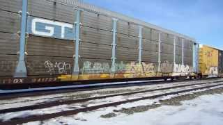 BC Rail C40-8M, NS SD70M-2: they had to slow the freight train
