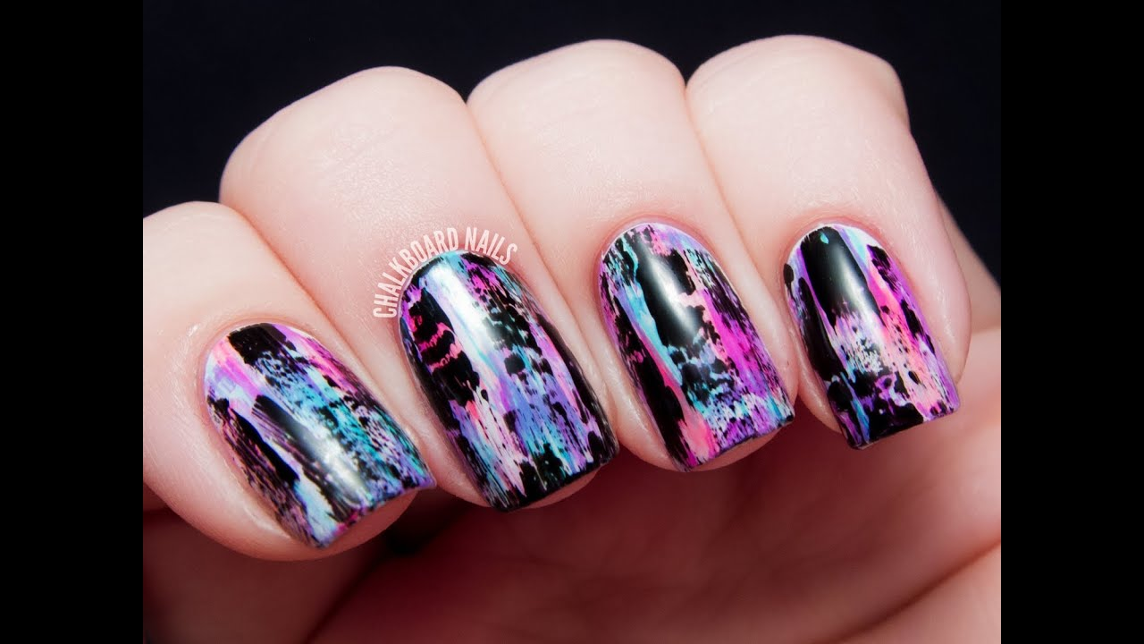 tutorial distressed nail art punk grungy