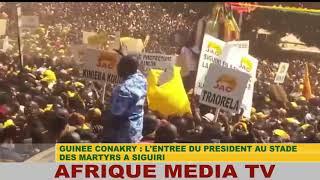 GUINEE CONAKRY : L'ENTREE DU PRESIDENT ALPHA CONDE AU STADE DES MARTYRS A SIGUIRI