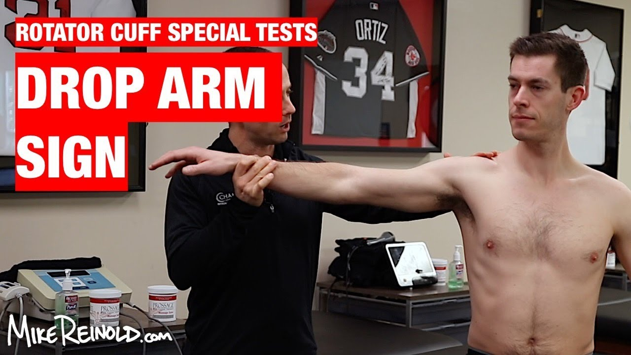 drop arm sign shoulder rotator cuff special test youtube