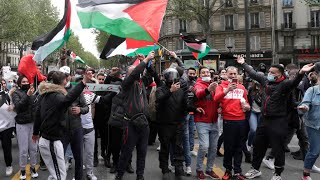 Paris police clash with pro-Palestinian protesters at banned rally
