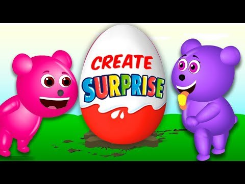 Mega Gummy Bear Exchange candy and eggs funny Finger Family rhymes for kids