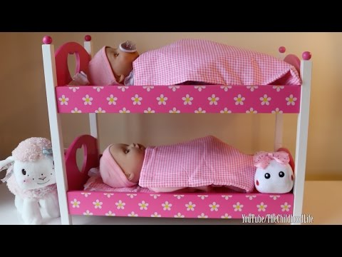 Dimples Dolls Cot, Rocking Cradle and Pink Bunkbed Baby Annabell Baby Born Bedtime Routine