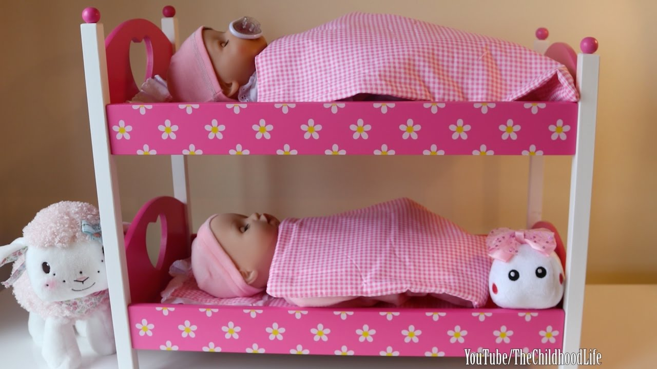 Dimples Dolls Cot Rocking Cradle And Pink Bunkbed Baby