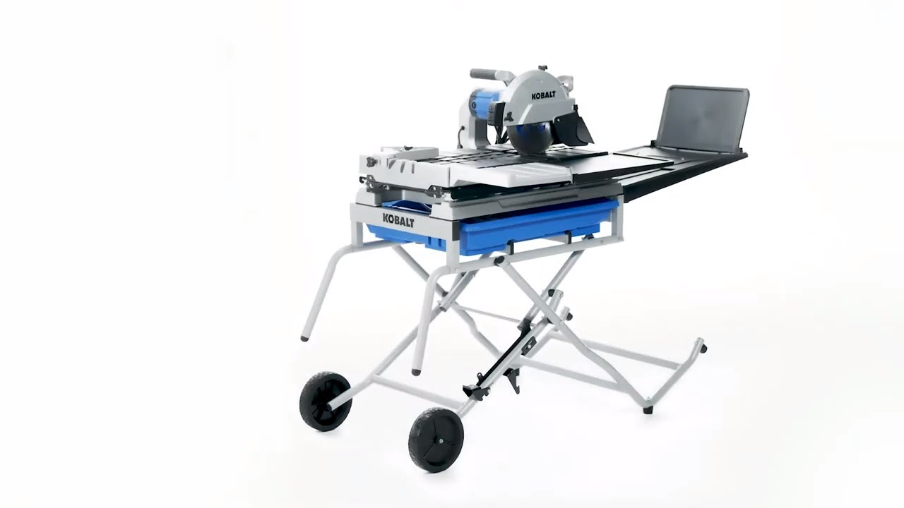 kobalt 10 in wet tabletop sliding table tile saw with stand