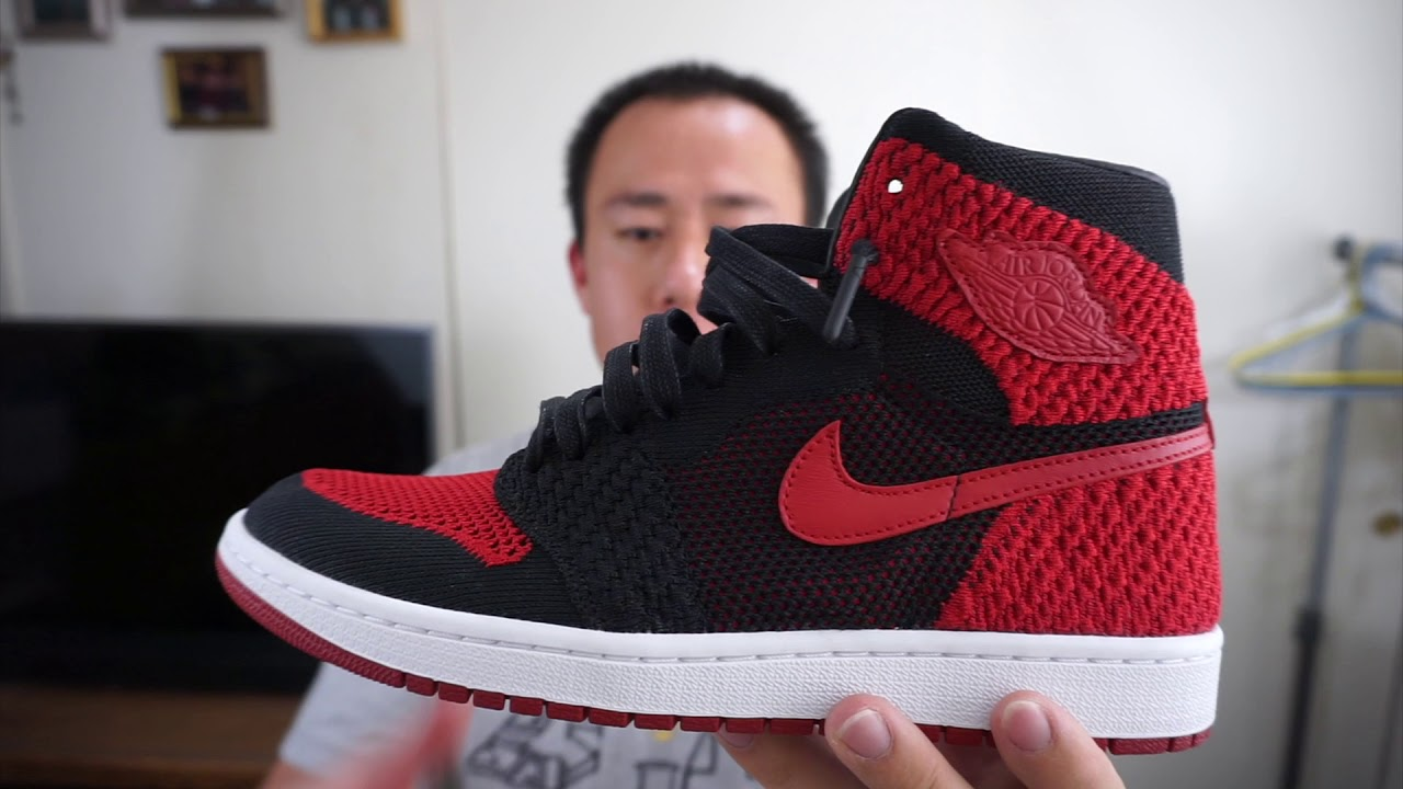 free shipping c1d47 3d9cf Jordan 1 Flyknit Bred With On Feet