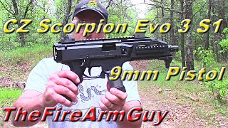 cz scorpion evo 3 s1 9mm pistol at the range thefirearmguy
