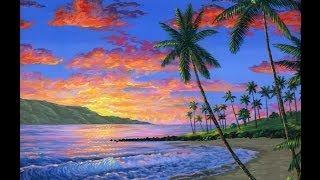 cara melukis pantai saat matahari terbenam dengan menggunakan akrilik di atas kanvas