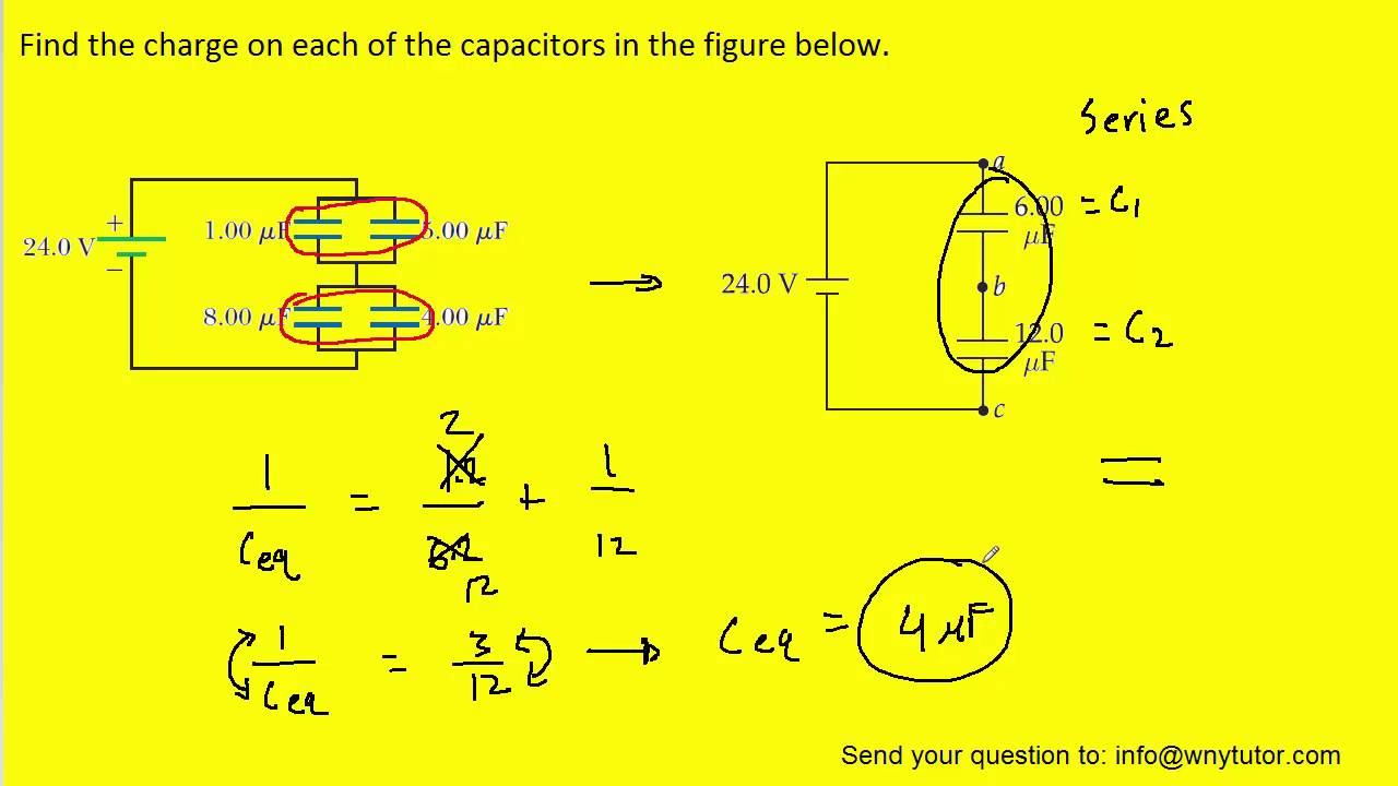 Voltage In Parallel Circuit Formula Wiring Diagram For Professional Series And Find The Charge On Each Of Capacitors Figure Circuits Combination