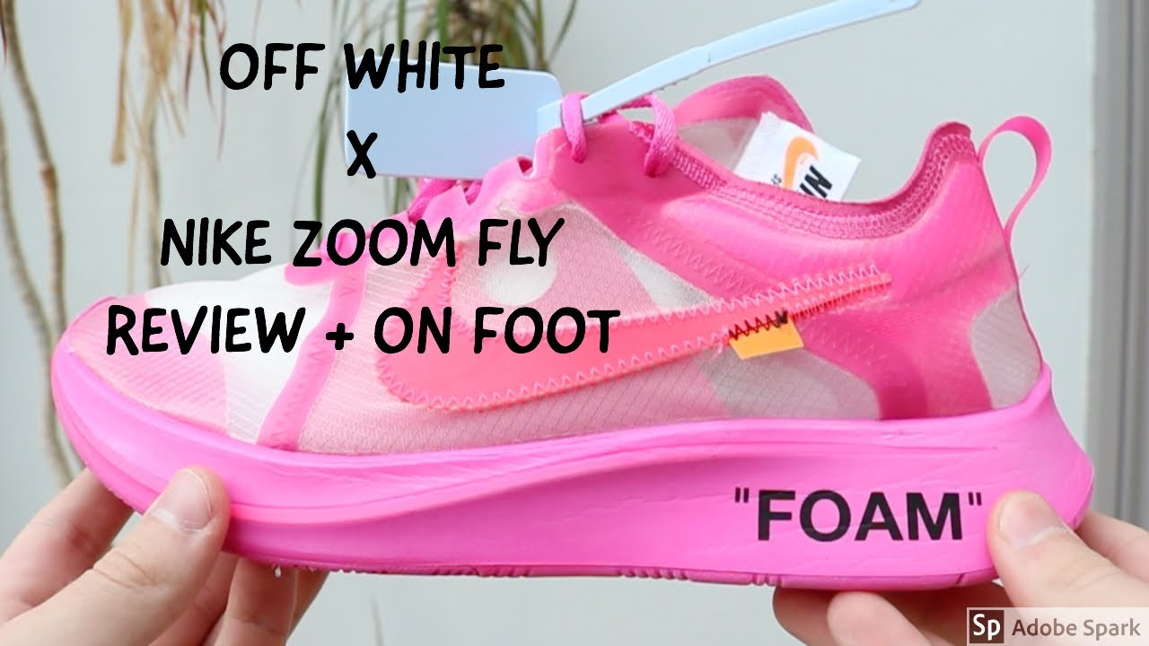 6e32239f2dfd2 OFF WHITE X NIKE ZOOM FLY PINK TULIP REVIEW AND ON FOOT - YouTube
