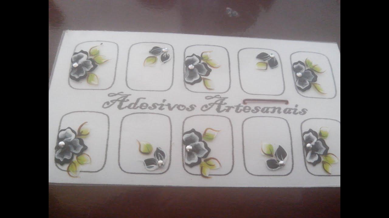 Armario Jardin Barato ~ Adesivo de unha Passo a passo flor preta You