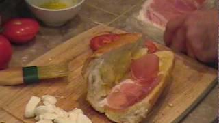 Sandwich With Fresh Buffalo Mozzarella, Tomato, Prosciutto And Basil