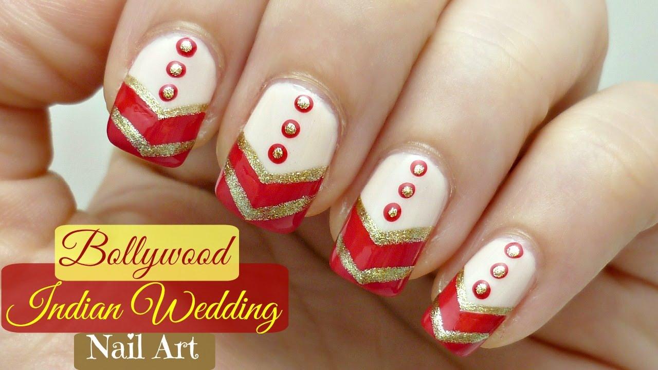 Easy Bollywood Indian Wedding Nail Art Design! - YouTube