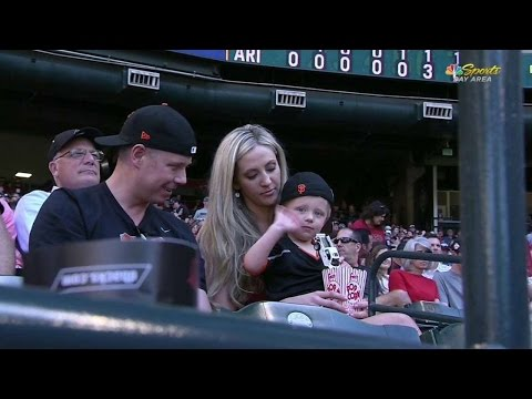 SF@ARI: Young Giants fan brandishes his toy truck