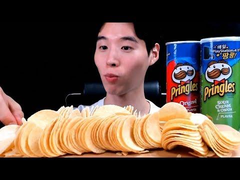 ASMR  Pringles (Sour Cream, Orignal) CRUNCHY Chips EATING SOUNDS  MUKBANG