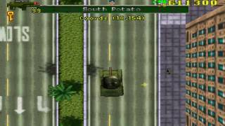 Gta 1 grand theft auto ps x gameplay tank   bug