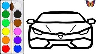 Как нарисовать СПОРТИВНУЮ МАШИНУ / мультик раскраска СПОРТКАР  для детей / Раскраски малышам