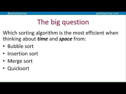Time and space complexity of sorting algorithms