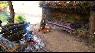 Build Bushcraft Shelter, 3 Dąys Solo Camp, Wild Camping, Primitive Technology, Survival Skills
