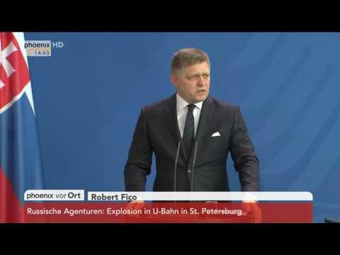 Nachbarschaftsvertrag: Robert Fico, Bohuslav Sobotka und Angela Merkel am 03.04.2017