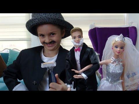 Lina Berber Oldu   Barbie Ken'e Damat Traşı Yapıyor   Barbie Gelin Damat Oyunu