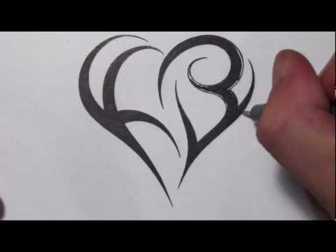 How To Create a Heart Using Letters - Tribal Initials Tattoo Design