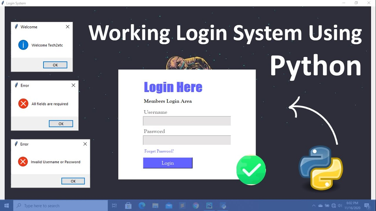 Programe a Working Login System Using Python