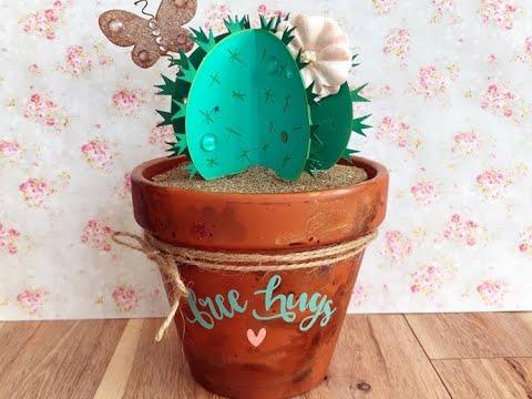 DIY Painted Pot and Cactus Spring Decor