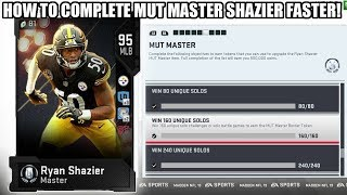HOW TO COMPLETE MUT MASTER FASTER! GET 95 RYAN SHAZIER QUICKLY! | MADDEN 19 ULTIMATE TEAM