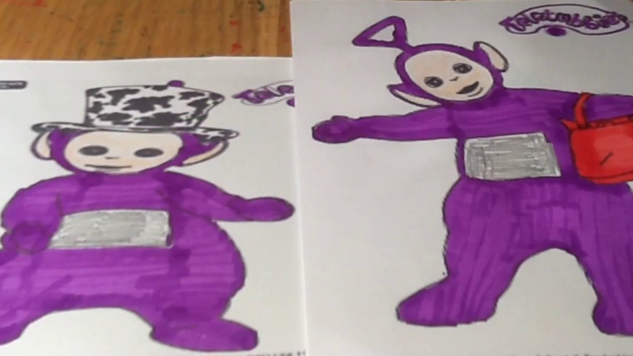 2 Pictures Of Tinky Winky With His Hat And Handbag Coloring For Babies Toddlers Kids