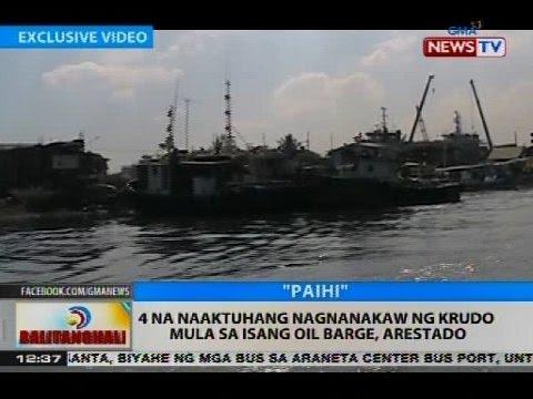 BT: 4 na naaktuhang nagnanakaw ng krudo mula sa isang oil barge, arestado