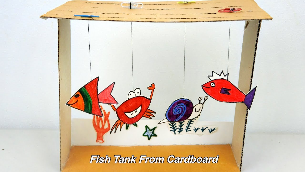 How to make an Aquarium (Fish Tank) from Cardboard | Toy for kids ...