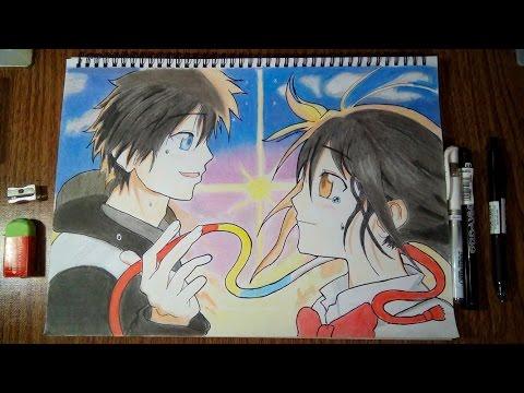 speed drawing taki and mitsuha kimi no na wa youtube