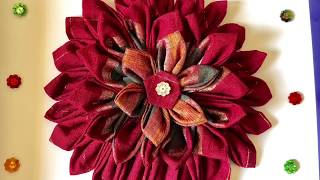 3d Flower Wall Decor By Using Waste Clothes / Best Out Of Waste / Diy Wall Hanging