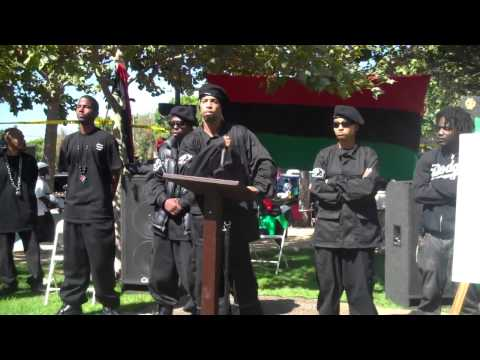 General Taco Of Black Riders Liberation Party at Garvey Rally