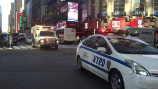 HATZALAH VOLUNTEER EMS AMBULANCE RESPONDING ON W. 42ND ST. IN TIMES SQUARE, MANHATTAN, NEW YORK.