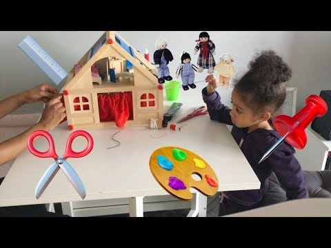Make DIY Dollhouse curtains with a Pre-Schooler | Step by Step Arts & Crafts video