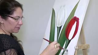 Pintura de Tulipas em tela - Cenário Feminino em 20/02/2016