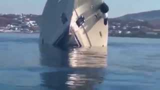 Luxury 6m superyacht sinking off Greek island of Mykonos