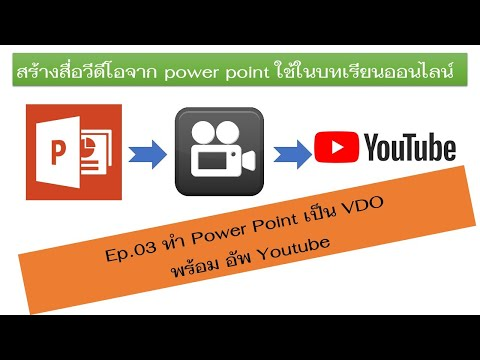 Ep03 การสร้างบทเรียนออนไลน์ (ทำ Power Point เป็น VDO พร้อม อัพ Youtube)