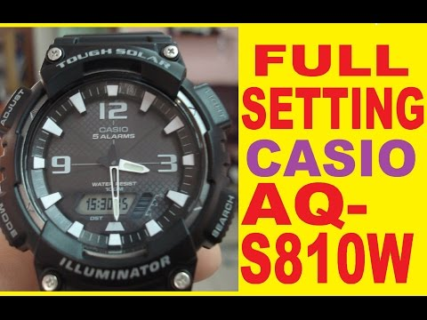 Setting AQ-S810W Digital time   Casio AQ-S810W how to set time