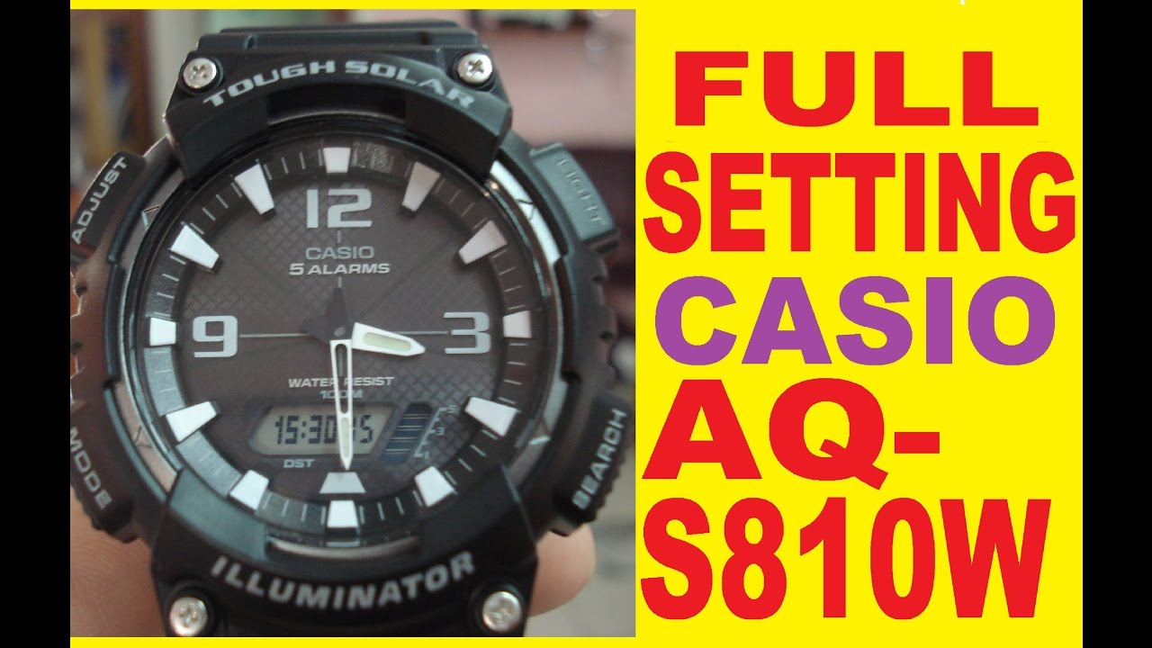 a59abdedfa6c Setting AQ-S810W Digital time - YouTube