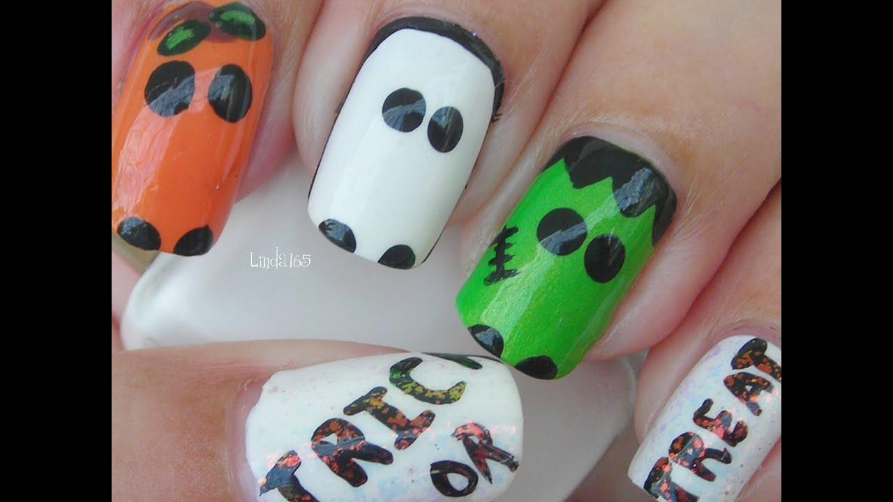 Halloween Nail Art - Trick or Treat - Decoracion de Uñas - YouTube