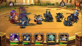 Heroes Charge LV 86 Orange Death Knight VS Orange Drunken Master in Arena