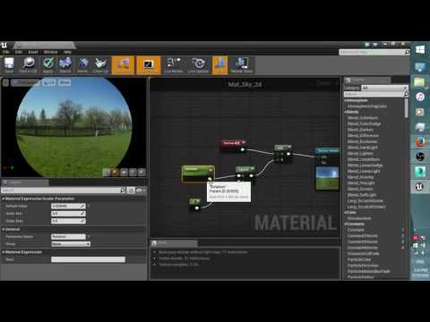 UE4_Create a simple skydome by HDRI and 2d map
